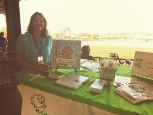 Cindy promoting Ready, Set Sleep at the Baseball Grounds of Jacksonville during Rounds at the Grounds 2014.